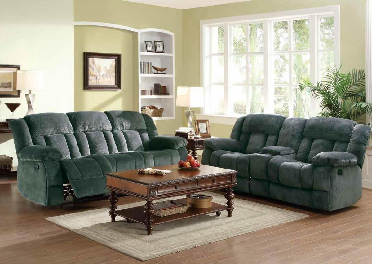 HE9636CC 2 pc Laurelton collection charcoal champion fabric upholstered double reclining sofa and love seat set