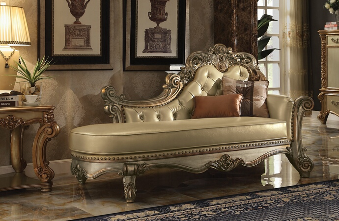 ACM96485 Vendome II collection gold patina finish wood frame and gold faux leather upholstered chaise lounger