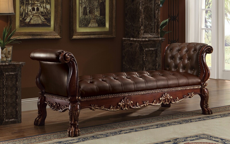 ACM96486 Dresden collection cherry oak finish wood and brown faux leather upholstered button tufted ottoman bench