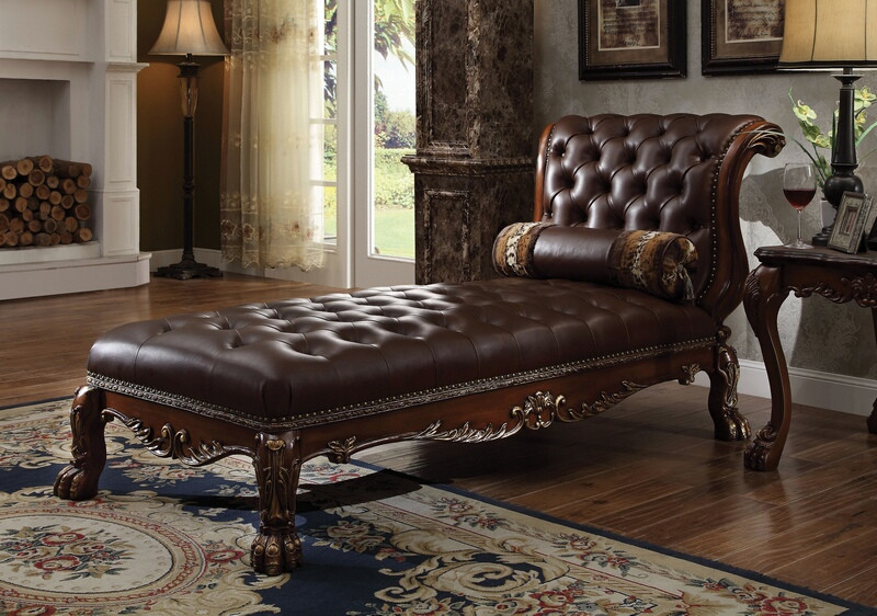 ACM96487 Dresden collection cherry oak finish wood frame and faux leather upholstered chaise lounger
