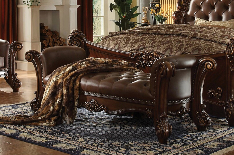 ACM96490 Vendome collection cherry oak finish wood and 2 tone brown faux leather upholstered button tufted ottoman bench