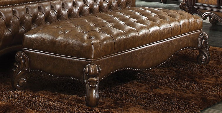 ACM96539 Versailles collection cherry oak finish wood and 2 tone light brown faux leather upholstered button tufted ottoman bench