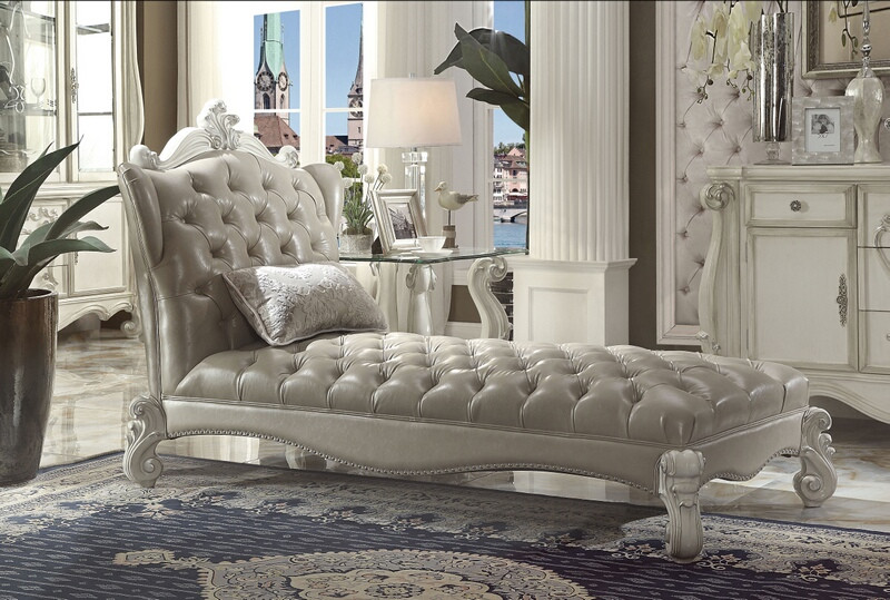 ACM96542 Versailles II collection bone white finish wood frame and vintage gray faux leather upholstered chaise lounger