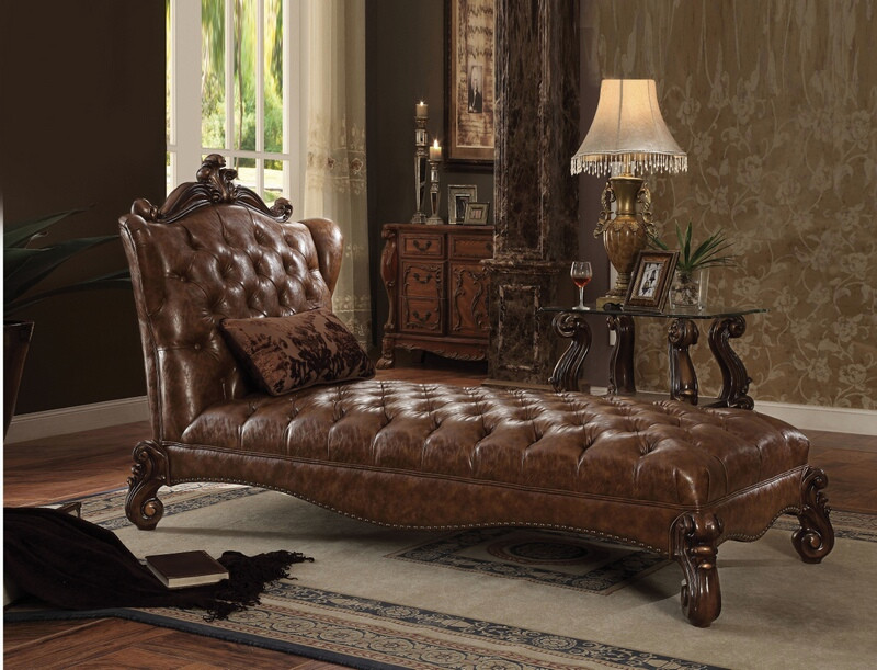 ACM96544 Versailles II collection cherry oak finish wood frame and tow tone light brown faux leather upholstered chaise lounger