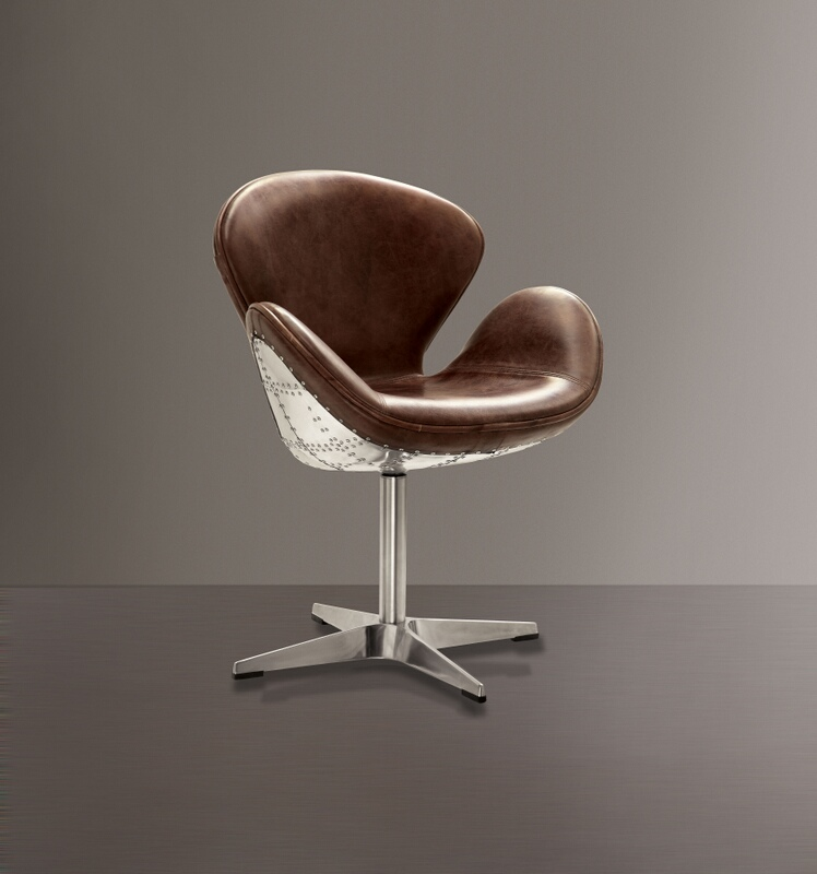 Acme 96553 Brancaster II retro brown top grain leather and aluminum accent chair