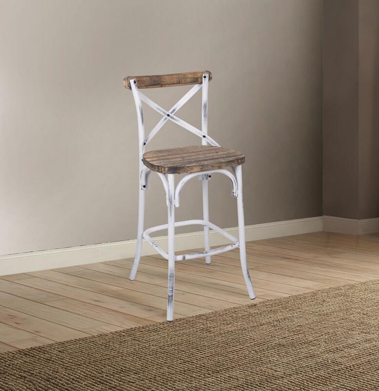 Acme 96642 Zaire antique oak finish wood antique white metal bar chair