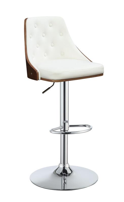 Acme 96751 Camila walnut finish wood white faux leather bar stool