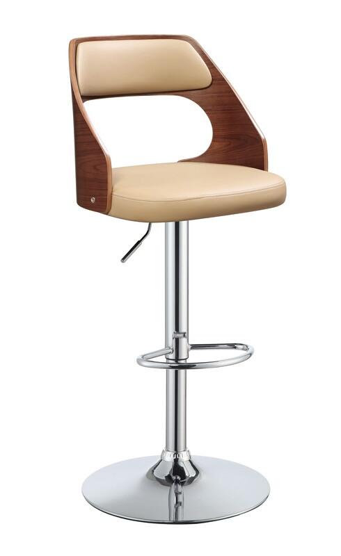 Acme 96752 Camila walnut finish wood beige faux leather bar stool