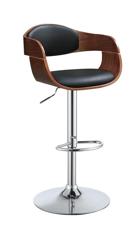 Acme 96753 Camila walnut finish wood black faux leather bar stool