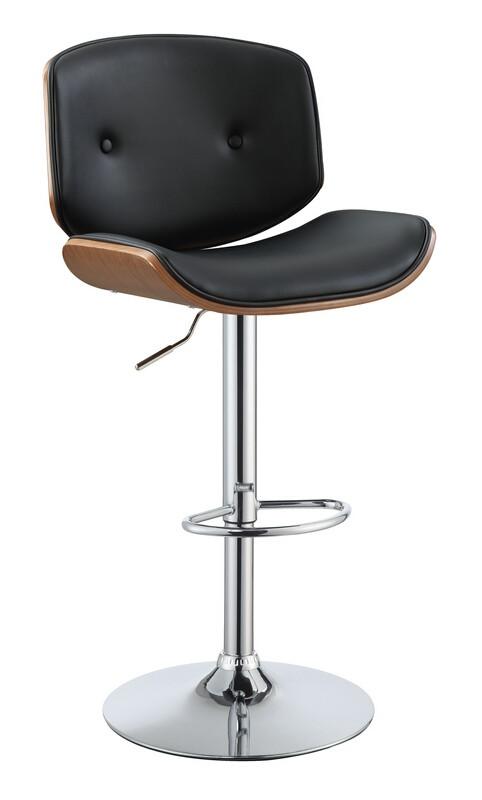 Acme 96756 Camila walnut finish wood black faux leather bar stool