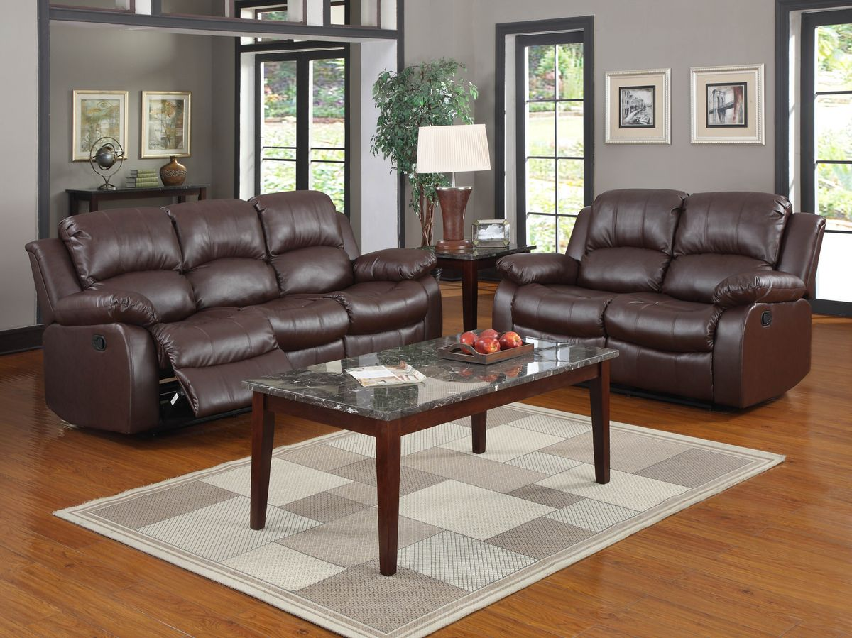 HE9700BRW 2 pc Cranley collection Brown bonded leather match upholstered double reclining sofa and love seat set.