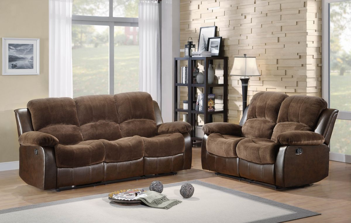 HE9700FCP 2 pc Cranley collection 2 tone chocolate textured microfiber and brown faux leather upholstered double reclining sofa and love seat set