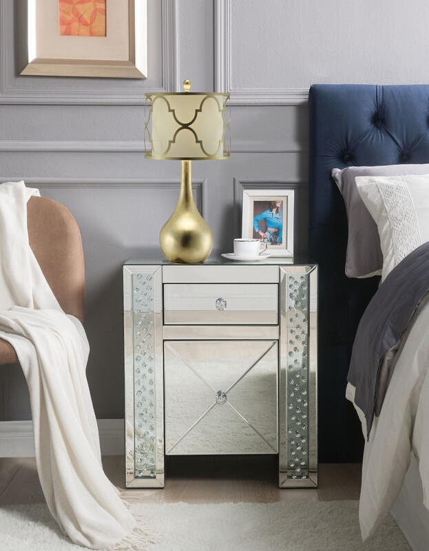 Acme 97026 Glam Maisha mirrored and faux crystals inlay nightstand bed side end table