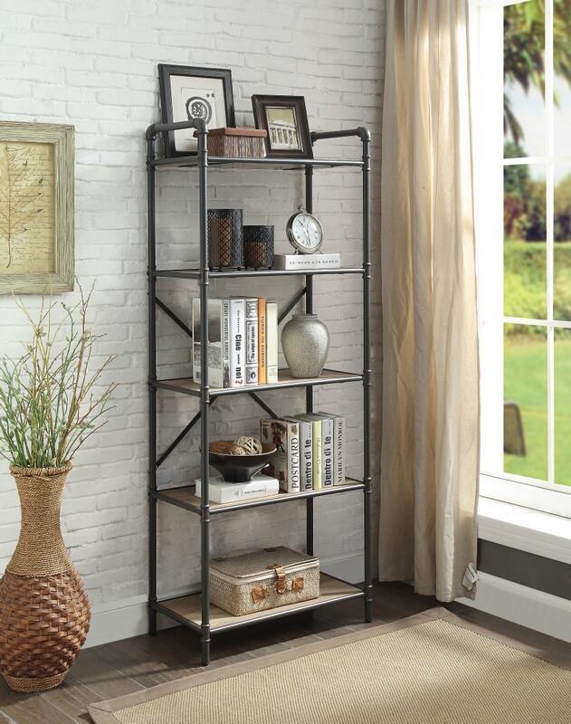 Acme 97164 Itzel antique oak finish wood sandy black metal 5 tier book case shelf unit