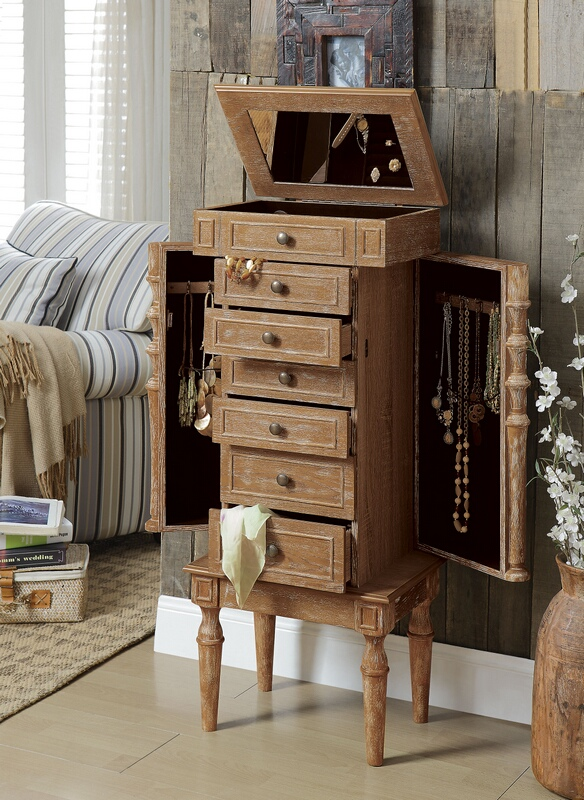 Acme 97173 Taline weathered oak finish wood jewelry armoire cabinet