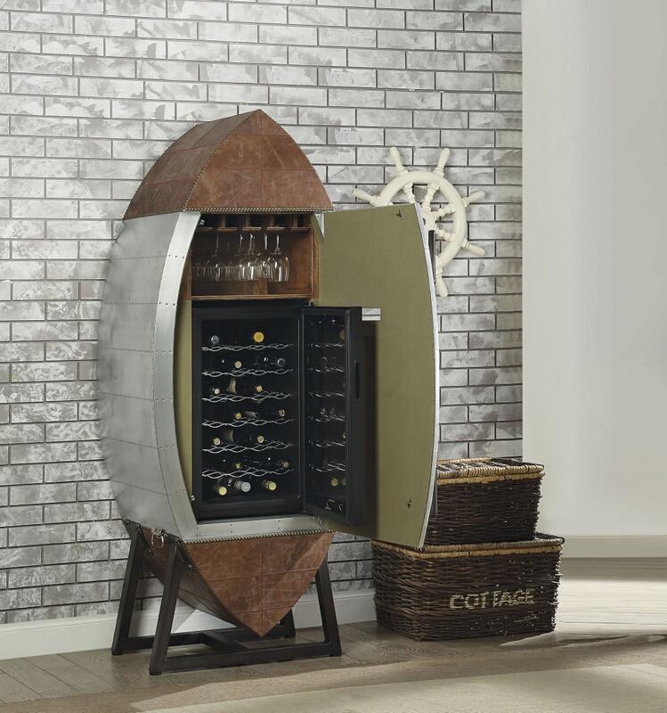 Acme 97195 Brancaster aluminum finish wine chiller refrigerator cabinet with glass rack