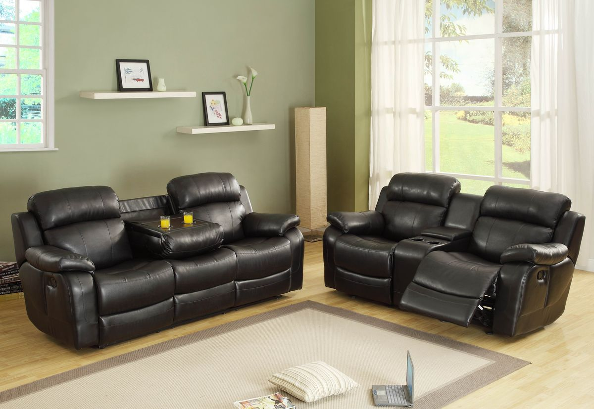 HE9724BLK 2 pc Marille collection black bonded leather match upholstered double reclining sofa and love seat set
