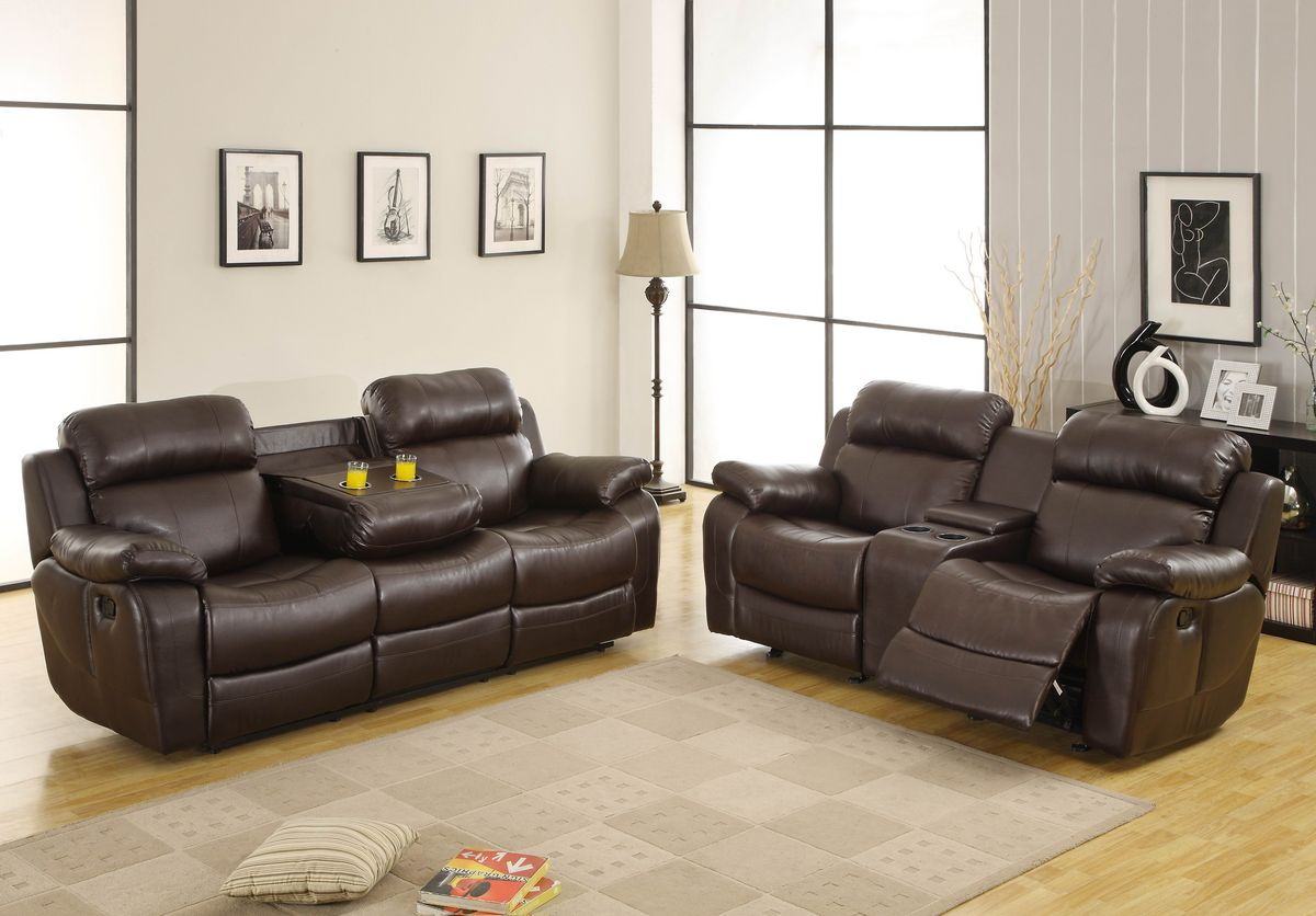 HE9724BRW 2 pc Marille collection dark brown bonded leather match upholstered double reclining sofa and love seat set