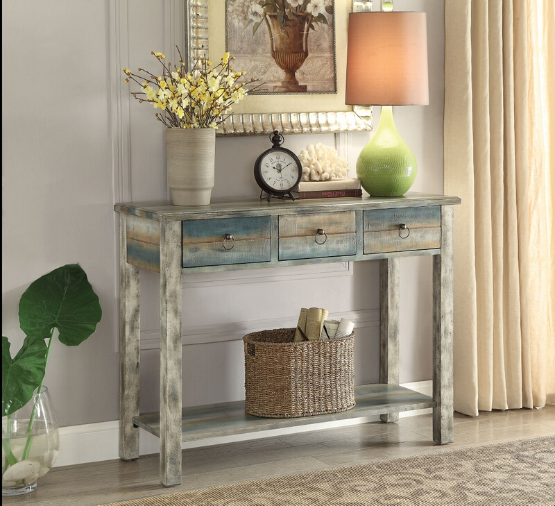 ACM97257 Glancio collection antique oak finish wood console entry table teal finish