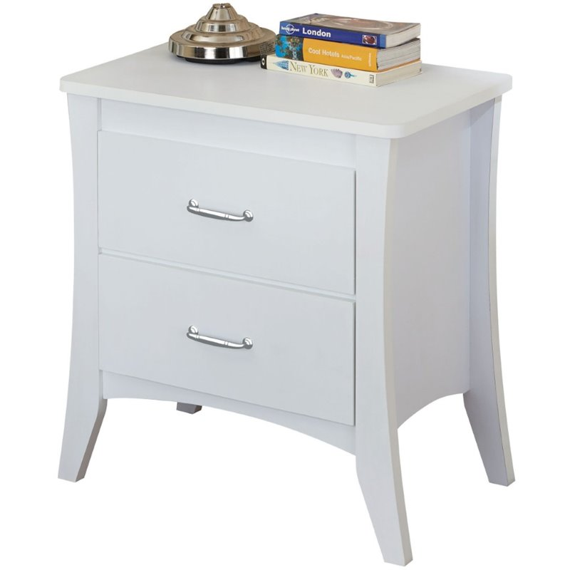 Babb white finish wood nightstand bed side end table.