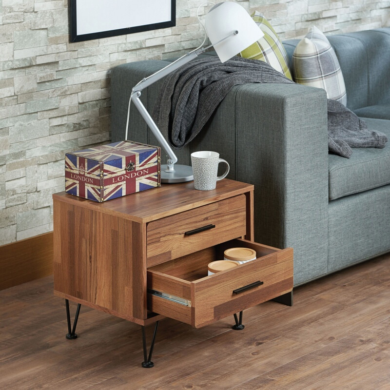 Acme 97330 Deoss walnut finish wood 2 drawer nightstand bed side end table