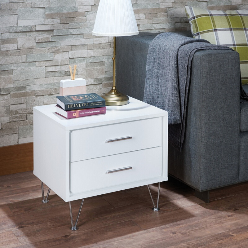 Acme 97332 Deoss white finish wood 2 drawer nightstand bed side end table
