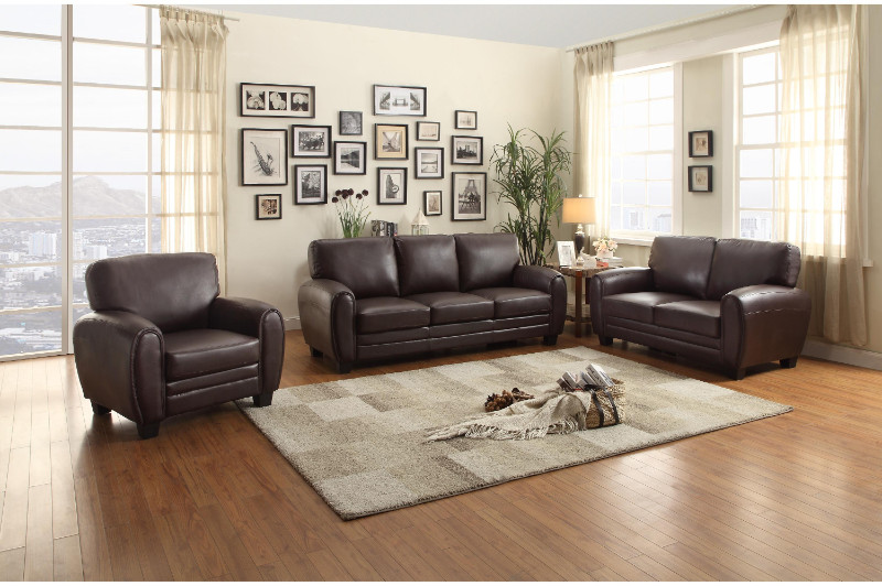 Home Elegance HE-9734DB-SL 2 pc rubin collection rounded top arm dark brown bonded leather sofa and love seat set
