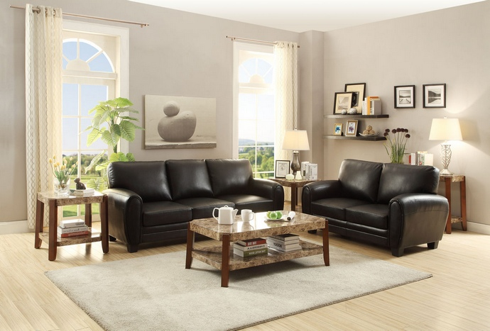 HE-9734BK 2 pc rubin collection rounded top arm black bonded leather upholstered sofa and love seat set