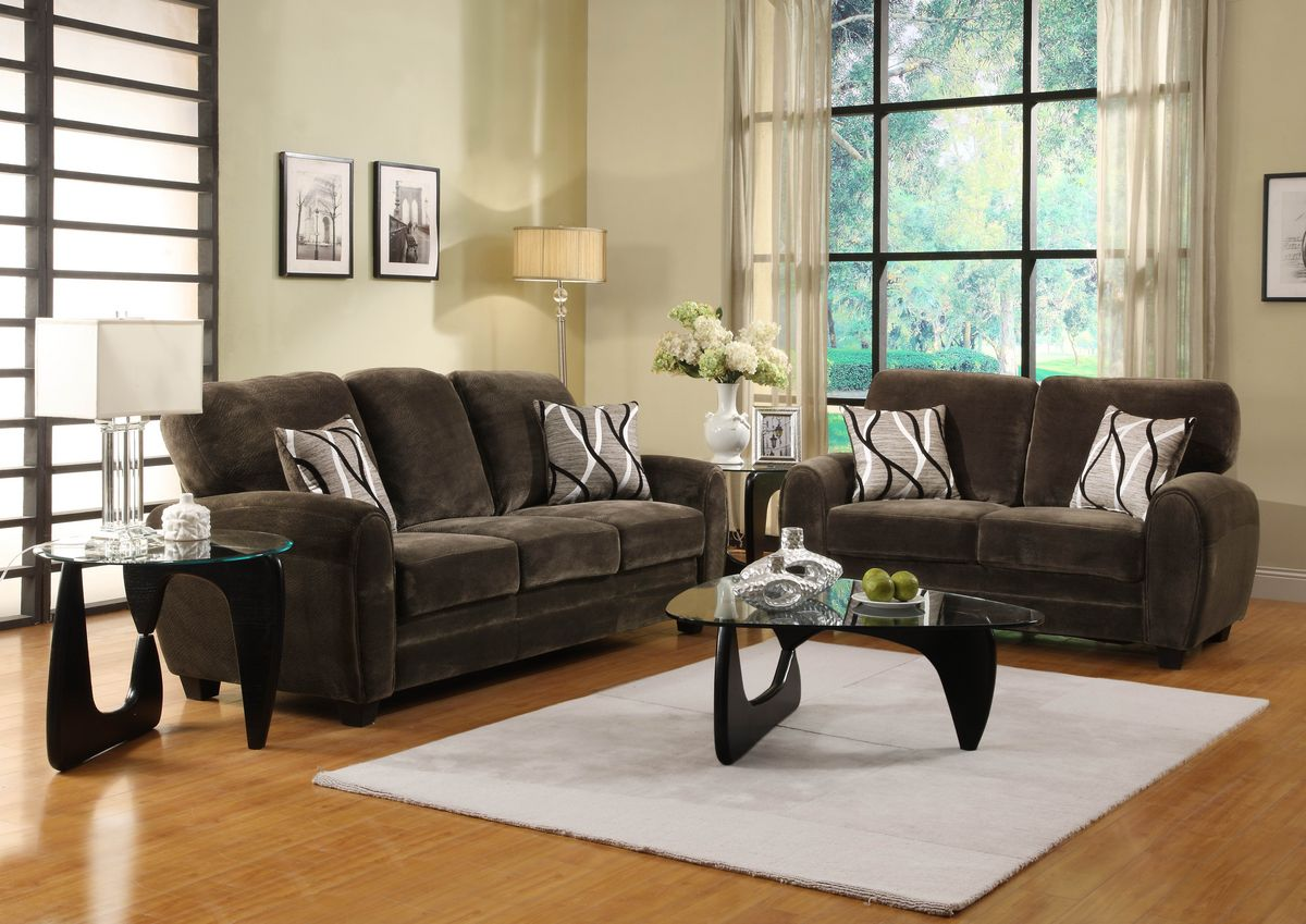 HE9734CH 2 pc Rubin collection rounded top arm chocolate textured plush microfiber fabric upholstered sofa and love seat set
