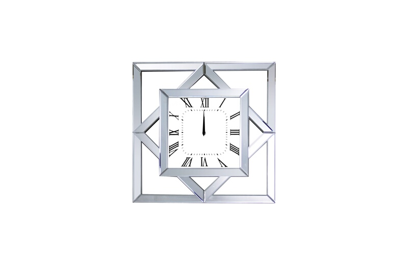 Acme 97397 Boffa mirrored front and diamond and squares shapes wall clock