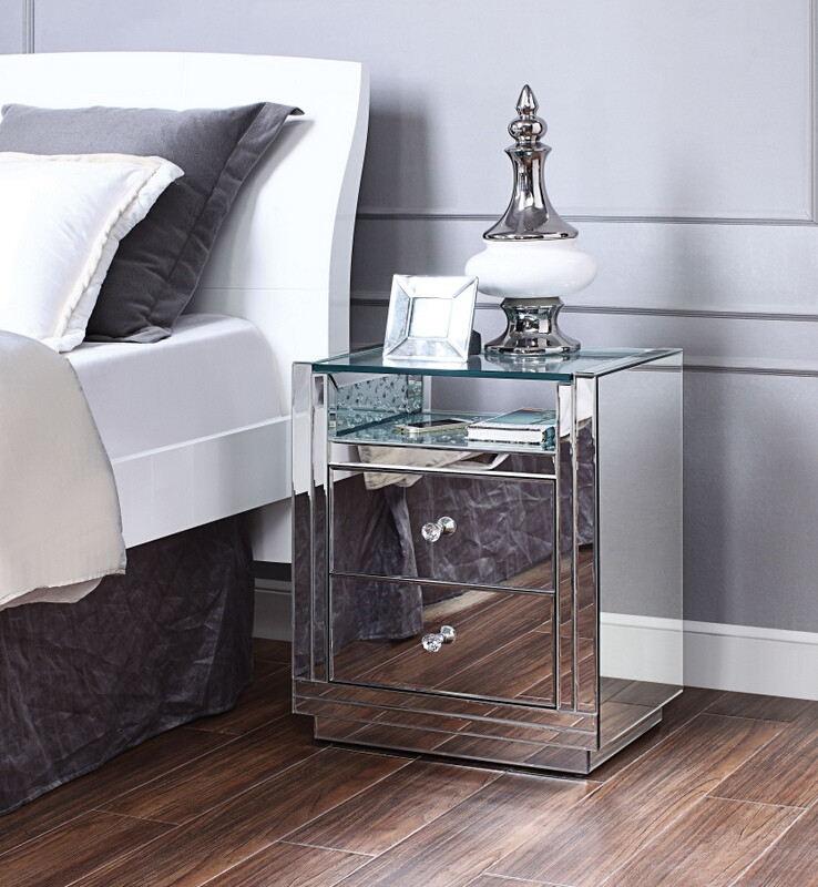 Acme 97575 Glam Nysa mirrored glasss top nightstand bed side end table
