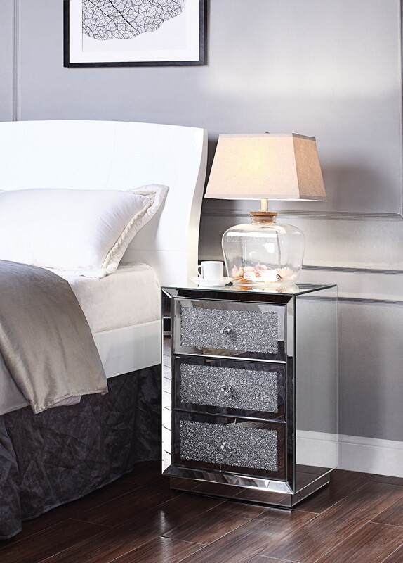 Acme 97580 Glam Rekha mirrored crystal front nightstand bed side end table