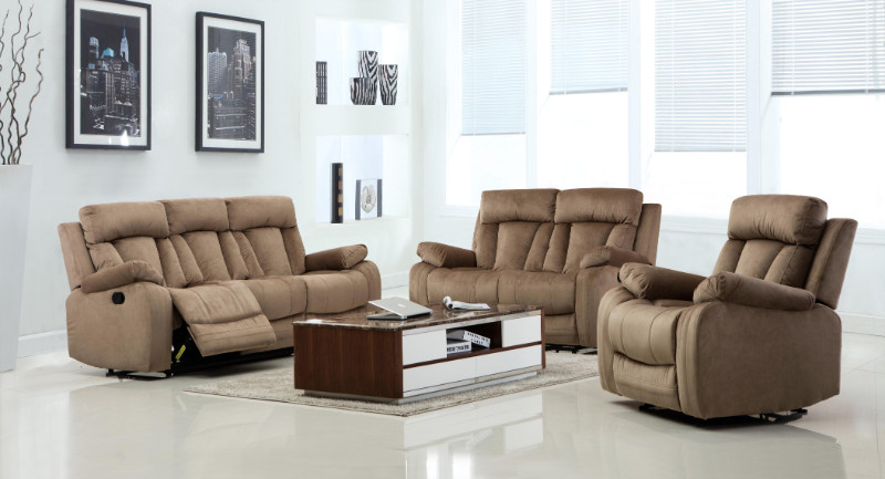 2 pc Parsons II collection beige bella fabric upholstered sofa and love seat with recliner ends