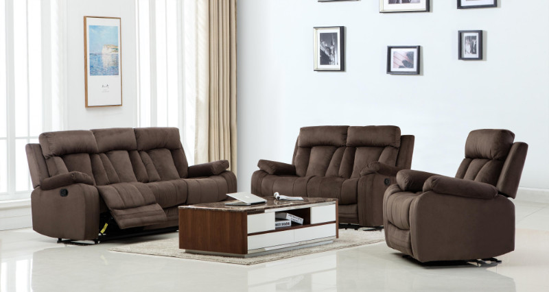 2 pc Parsons II collection brown bella fabric upholstered sofa and love seat with recliner ends