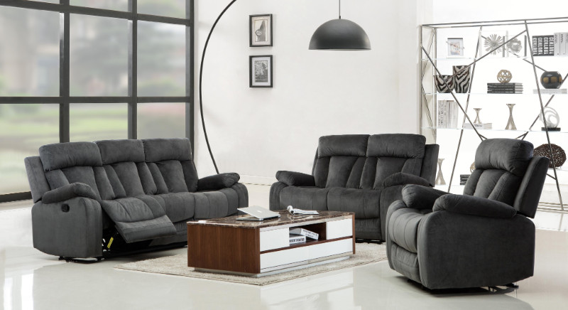 2 pc Parsons II collection gray bella fabric upholstered sofa and love seat with recliner ends