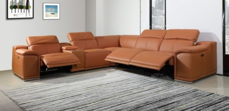 GU-DI9762CM-6PC 6 pc Orren ellis florence camel italian leather power reclining sectional sofa adjustable headrests