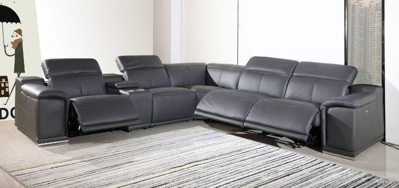 GU-DI9762GY-6PC 6 pc Orren ellis florence gray italian leather power reclining sectional sofa adjustable headrests