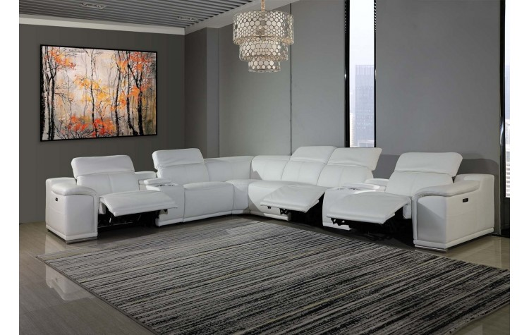 GU-DI9762WH-8PC 8 pc Orren ellis florence white italian leather power reclining sectional sofa adjustable headrests