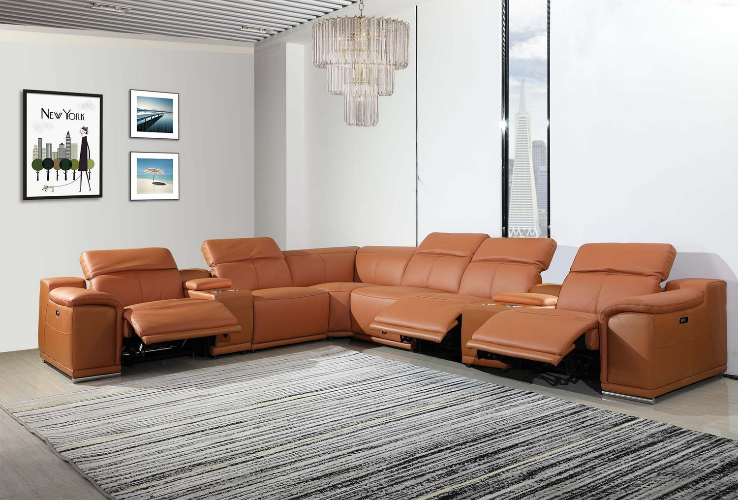 GU-DI9762CM-8PC 8 pc Orren ellis florence camel italian leather power reclining sectional sofa adjustable headrests