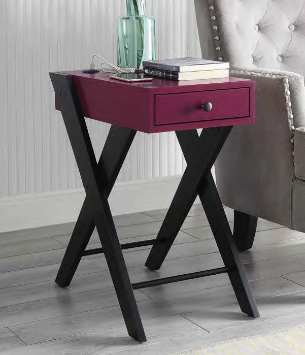 Acme 97737 Breakwater bay melchoir fierce burgundy and black finish wood chair side end table with USB power dock station