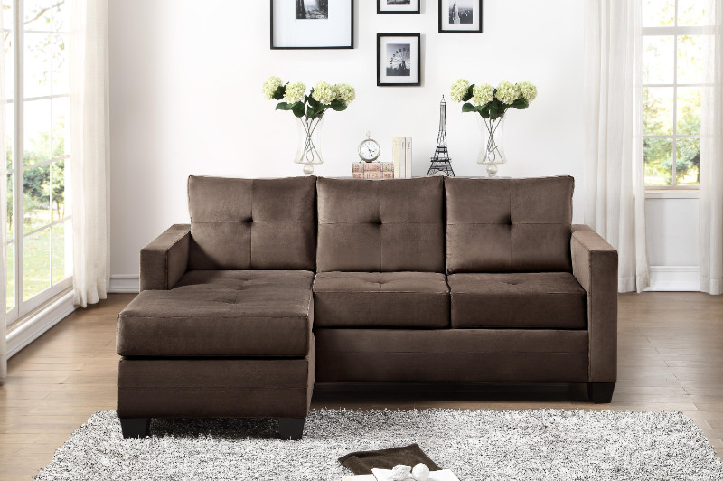 Home Elegance 9789CF 2 pc Phelps coffee textured fabric reversible sectional sofa set