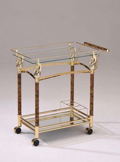 ACM98002 Mace golden brass plated metal finish and burl wood design tempered glass shelves tea serving cart with casters