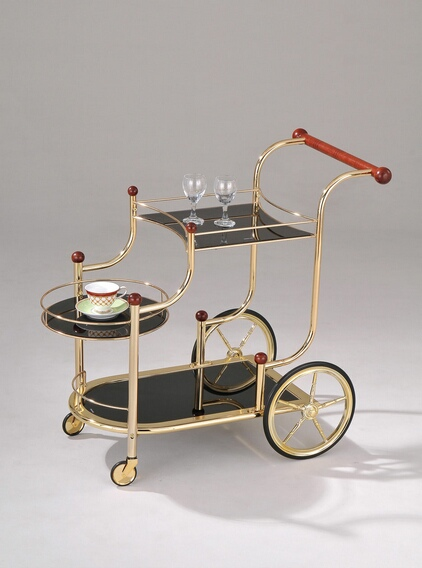 ACM98006 Mace golden brass plated metal finish and black tempered glass shelves tea serving cart with casters