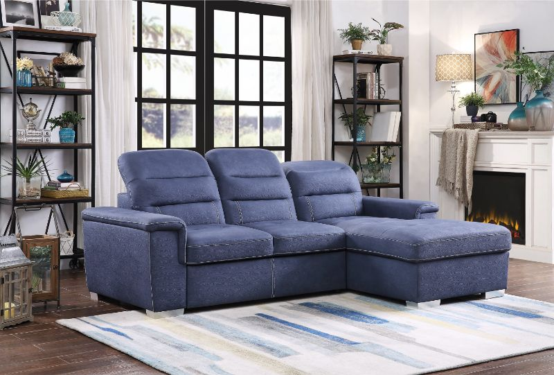 HE 9808BUE 2pc 2 Pc Alfio Blue Fabric Storage Sectional With Pull Out Bed  Lounger Area
