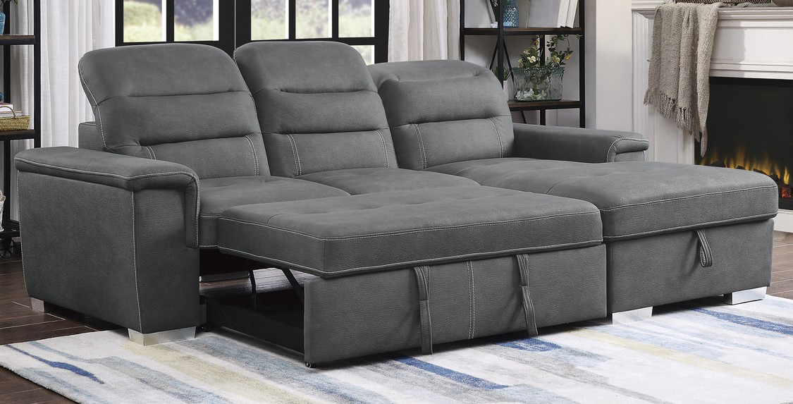Homelegance 9808SGY-2pc 2 pc Alfio gray textured fabric storage sectional with pull out bed lounger area