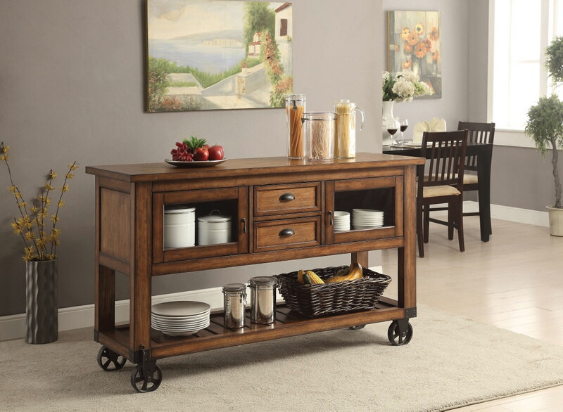 Acme 98180 Loon peek Kadri distressed chestnut finish wood and black metal  accents kitchen island cart