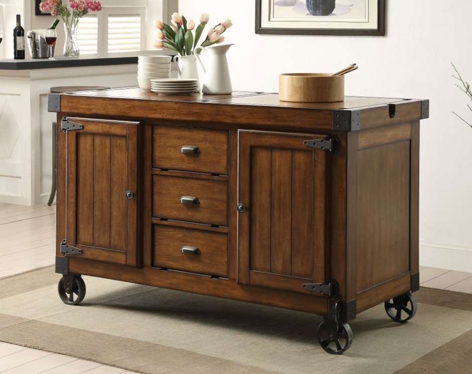 ACM98186 Kabili collection distressed antique tobacco finish wood and black metal accents kitchen island cart