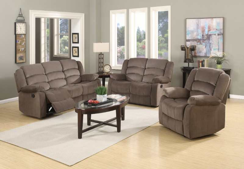 2 pc Norma collection brown bella velour fabric upholstered sofa and love seat with recliner ends