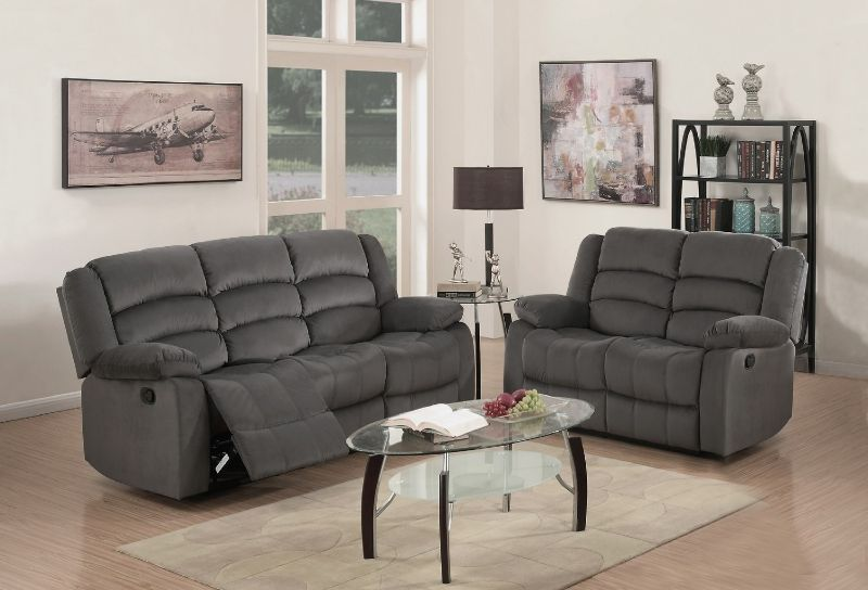 GU-9824GY-2PC 2 pc Norma grey bella velour fabric sofa and love seat with recliner ends