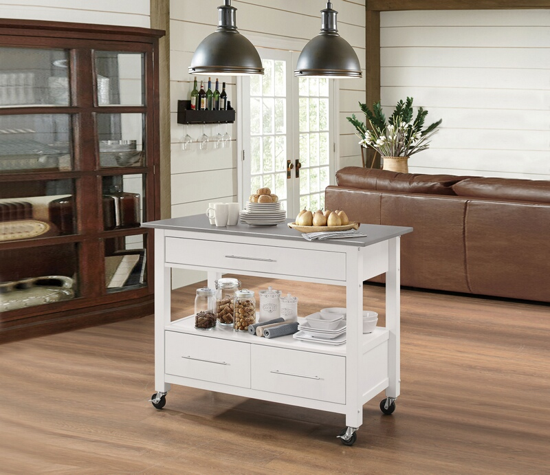 Acme 98330 Ottawa white finish wood and metal accents kitchen island cart